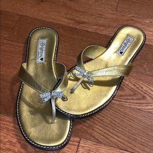 $bogo$ Women's Brighton gold flip flop sandals 10